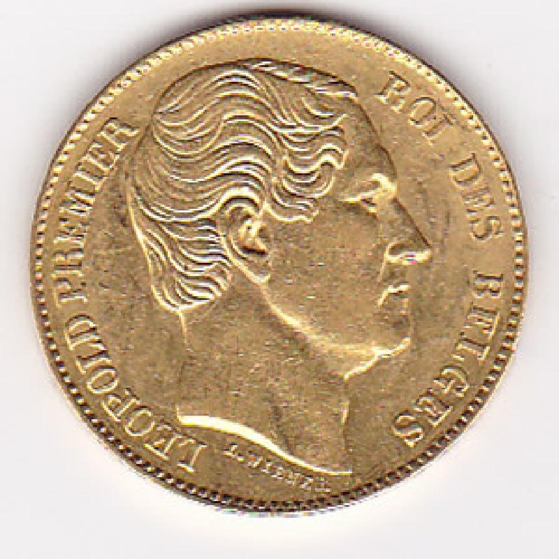 Belgium 20 francs gold 1865 Leopold I VF-XF