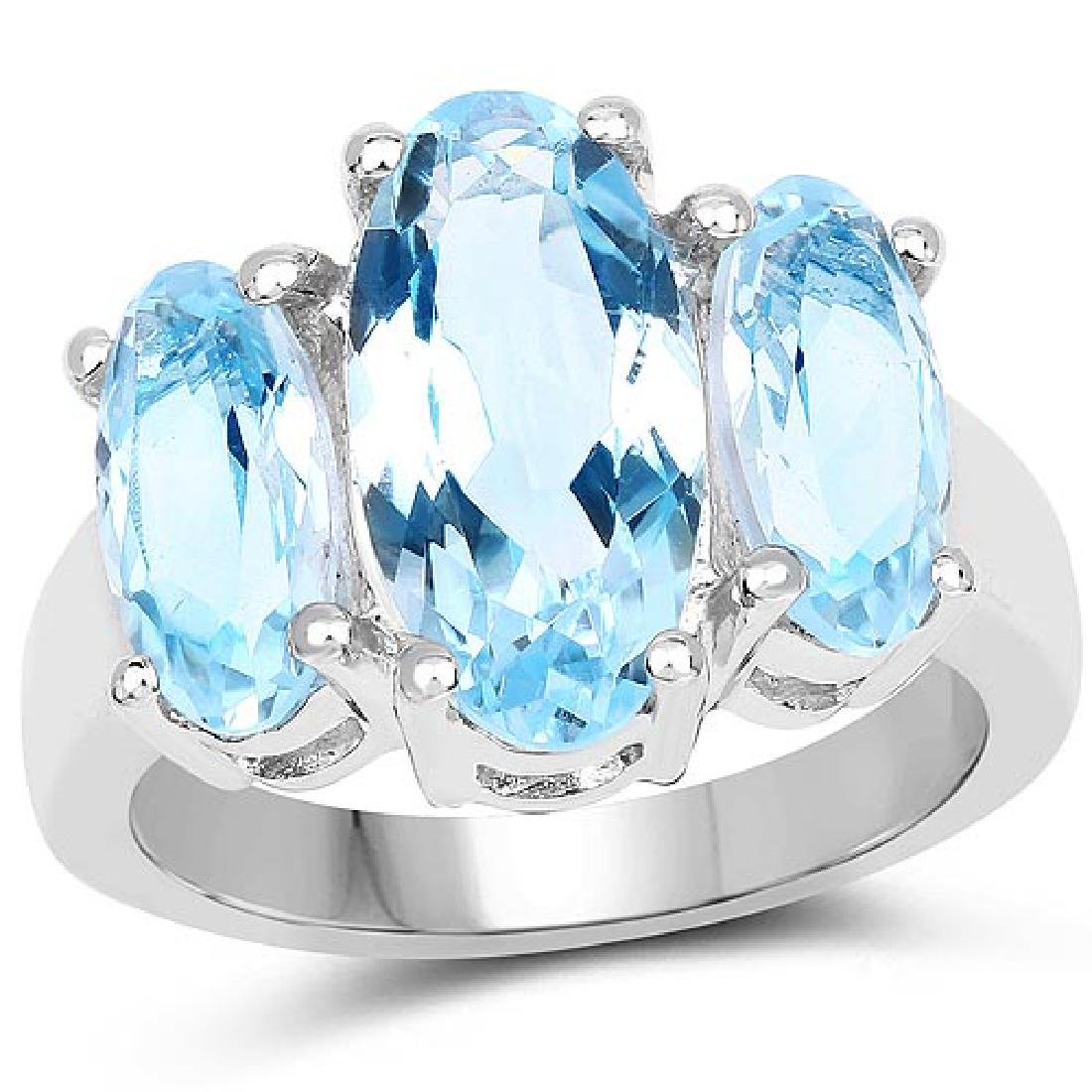 7.77 CTW Genuine Blue Topaz .925 Sterling Silver Ring