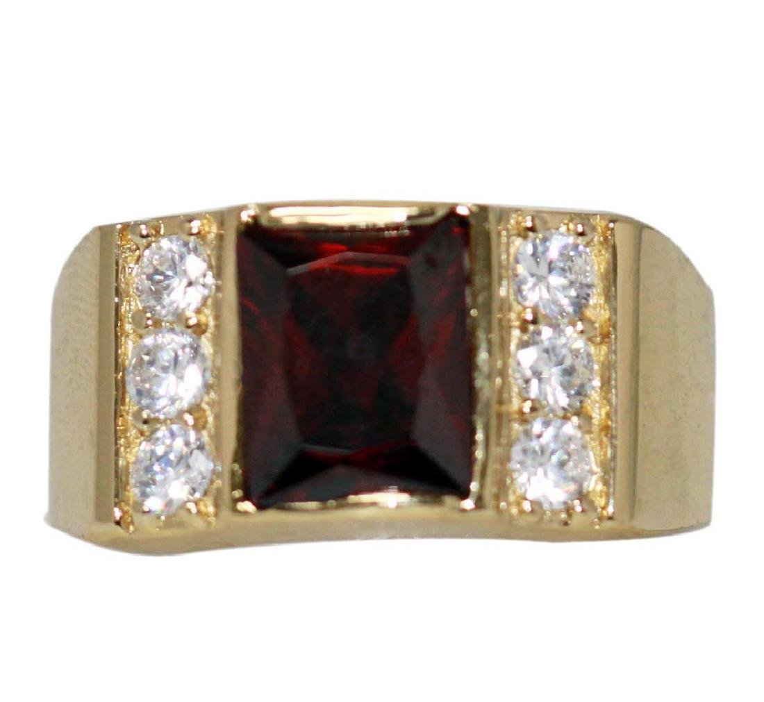 14K GOLD PLATED CZ AND RED CZ RING