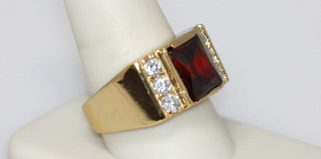 14K GOLD PLATED CZ AND RED CZ RING - 2