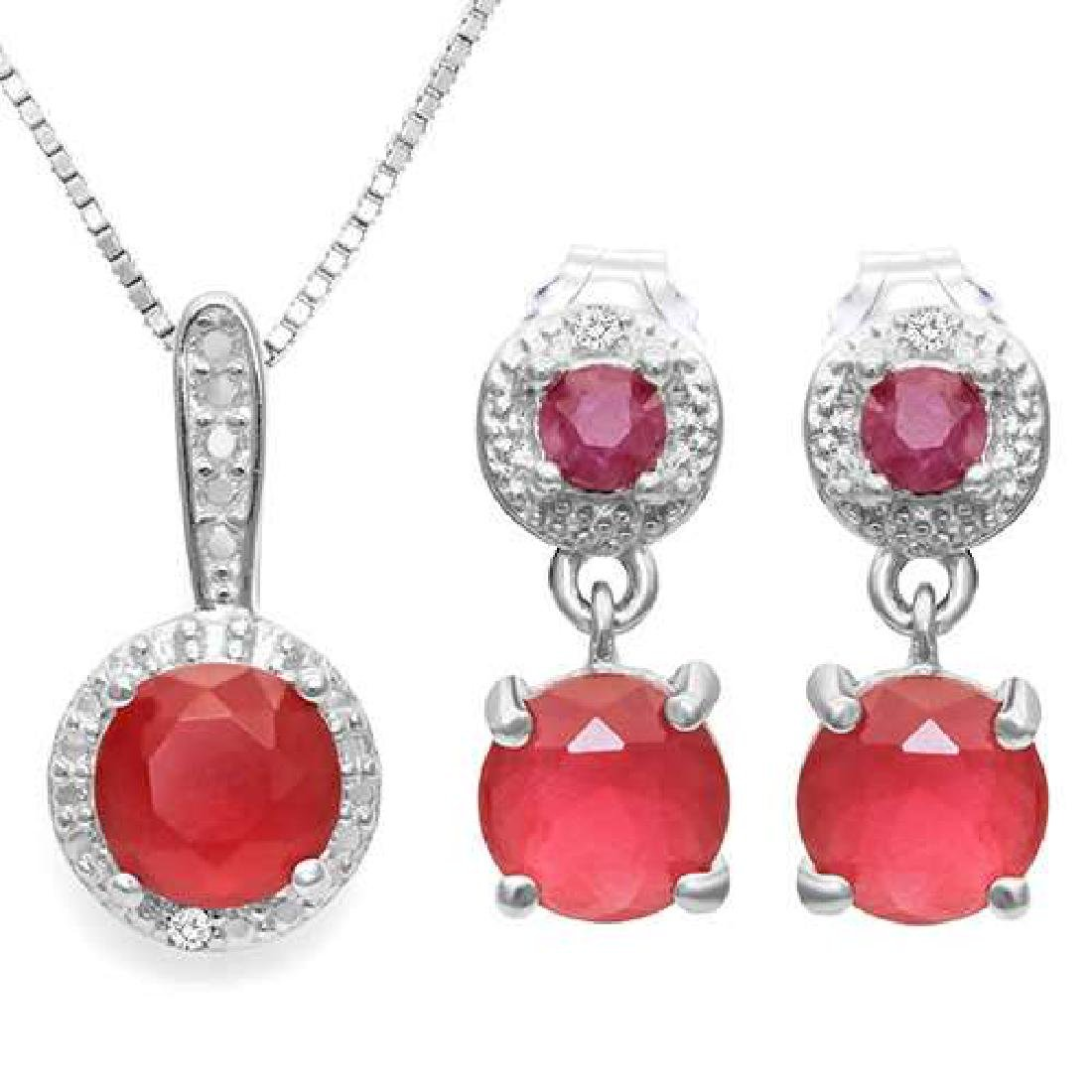 CREATED 2.77 CTW RUBY 925 STERLING SILVER SET