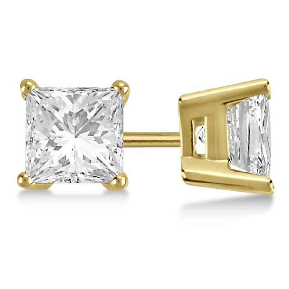 CERTIFIED 1.05 CTW PRINCESS E/SI1 DIAMOND SOLITAIRE EAR