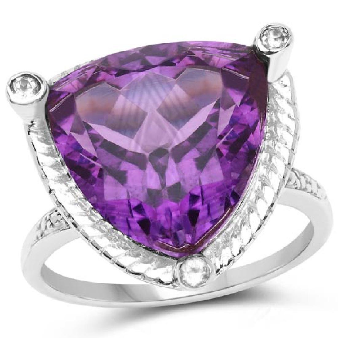 8.29 CTW Genuine Amethyst and White Topaz .925 Sterling