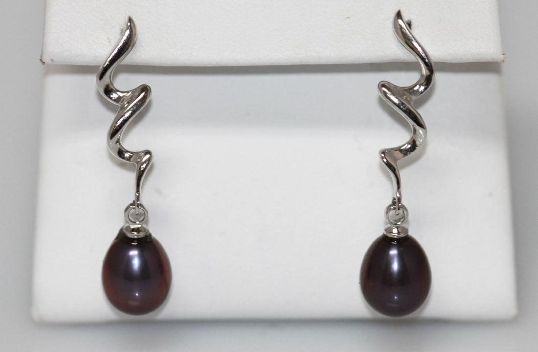 19.80 CTW  Natural Pearl Oval EARRINGSs .925 Sterling S