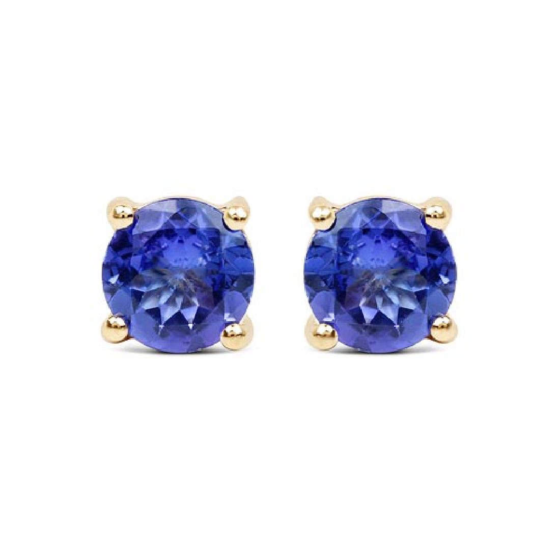 0.94 CTW Genuine Tanzanite 14K Yellow Gold Earrings