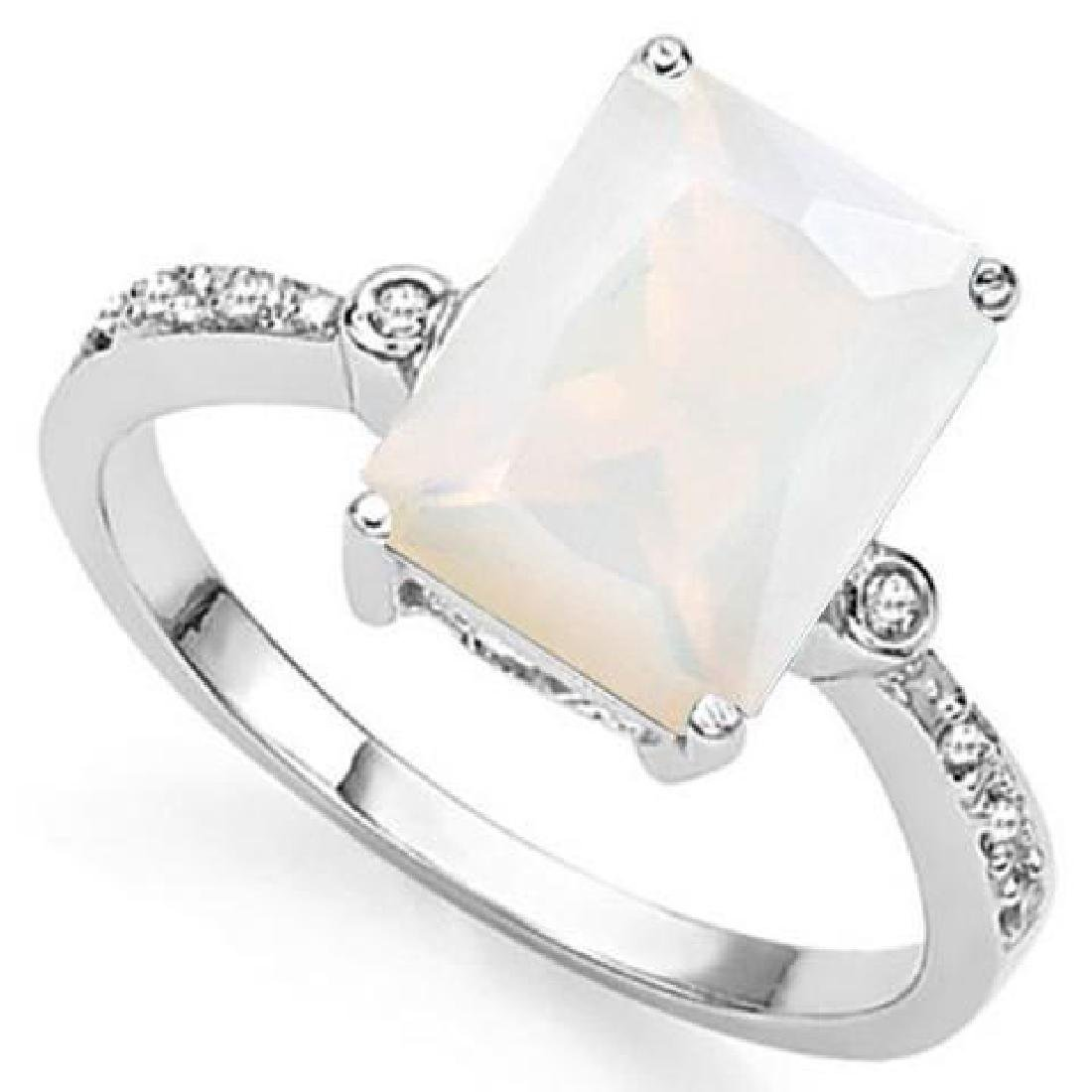 3 CT CREATED FIRE OPAL  DIAMOND 925 STERLING SILVER RIN