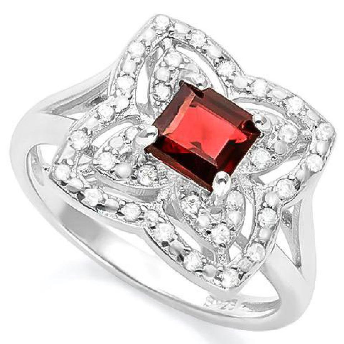 1 CARAT GARNET & (32 PCS) FLAWLESS CREATED DIAMOND 925