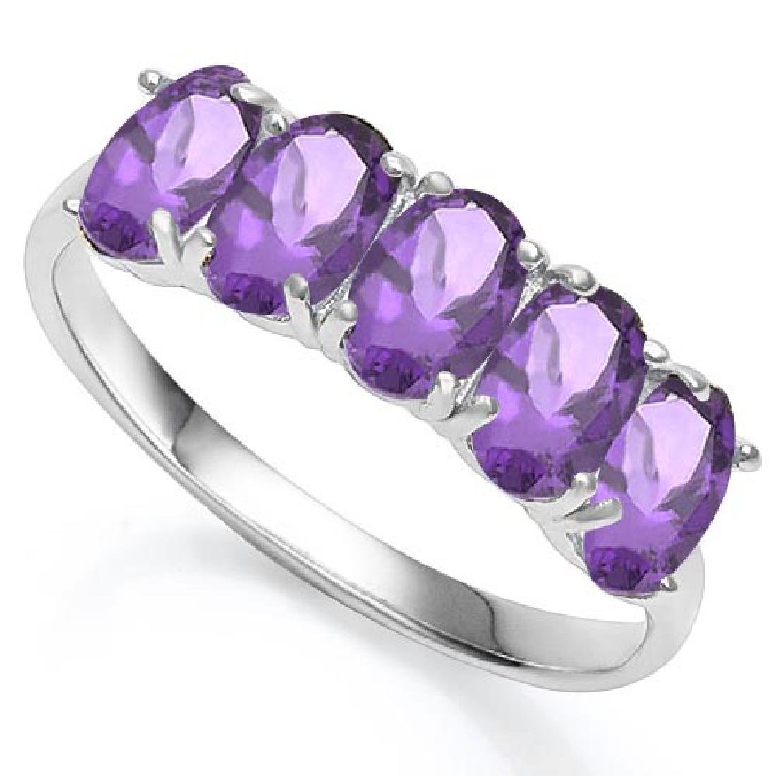 2.1 CTW GENUINE AMETHYST 10KT SOLID WHITE GOLD RING