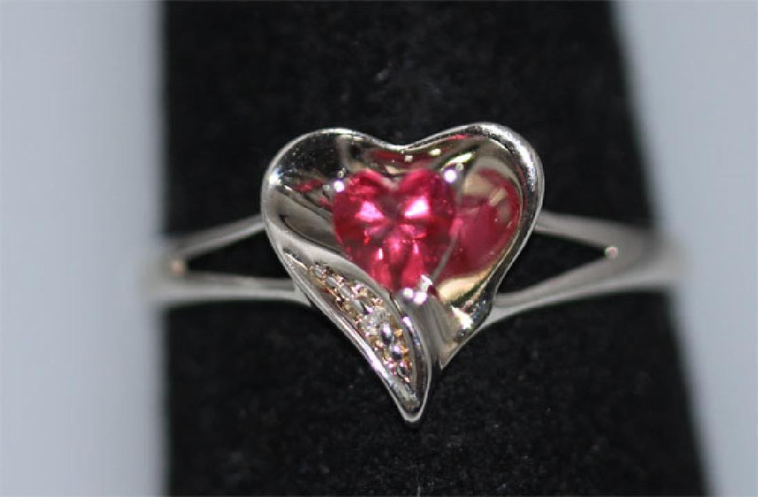 0.01 CTW DIAMOND RING AND CREATION RUBY .925 STERLING S