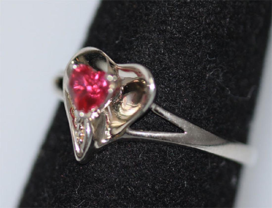 0.01 CTW DIAMOND RING AND CREATION RUBY .925 STERLING S - 2