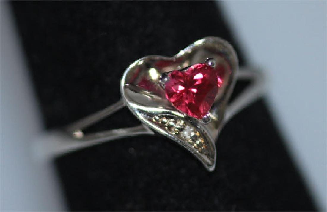 0.01 CTW DIAMOND RING AND CREATION RUBY .925 STERLING S - 3