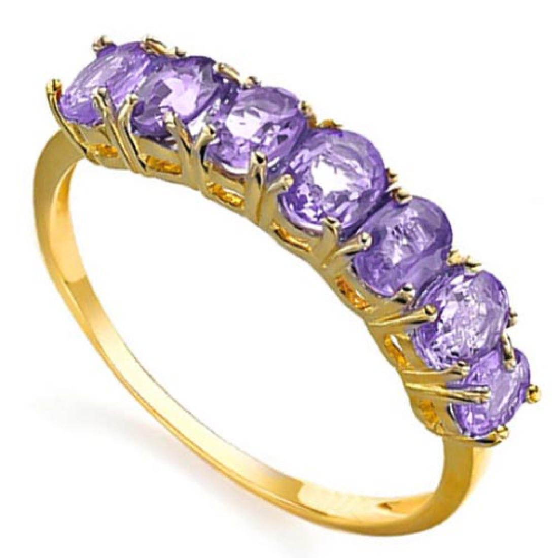 1.17 CTW GENUINE AMETHYST 10KT SOLID YELLOW GOLD RING