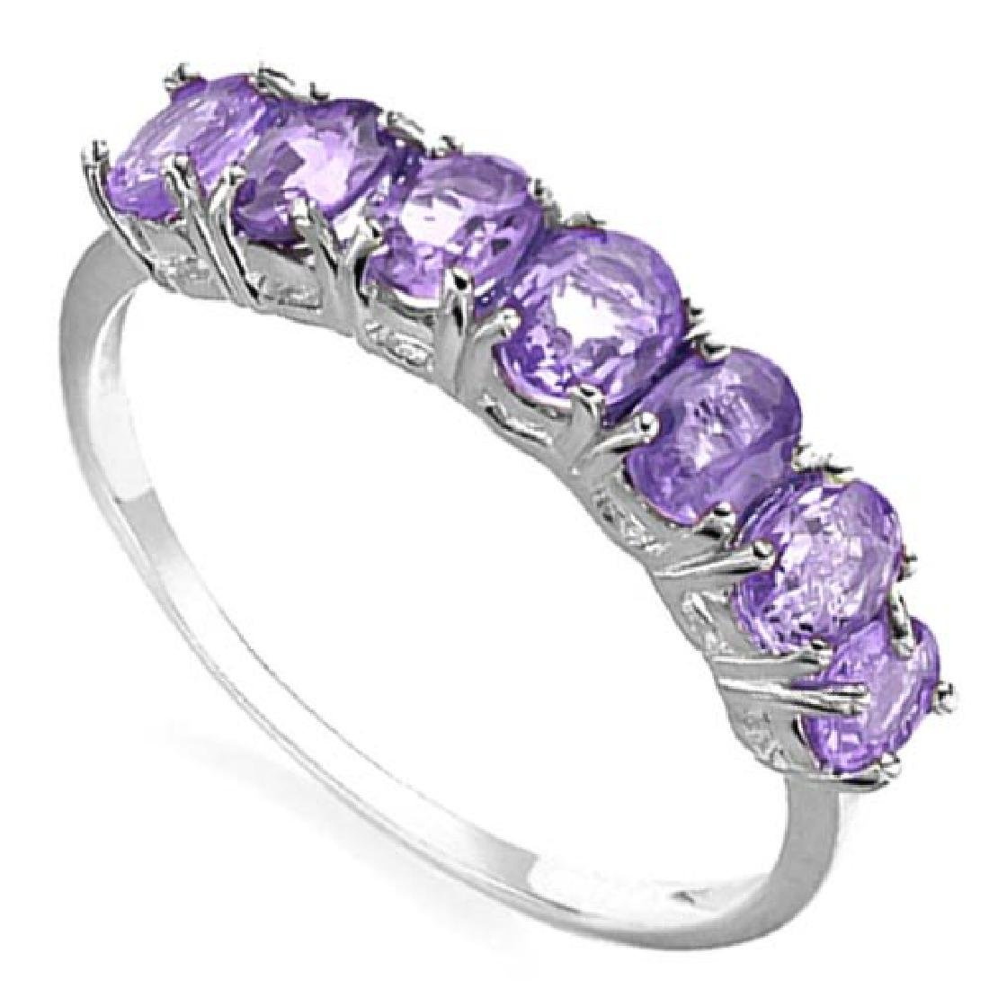1.17 CTW GENUINE AMETHYST 10KT SOLID WHITE GOLD RING
