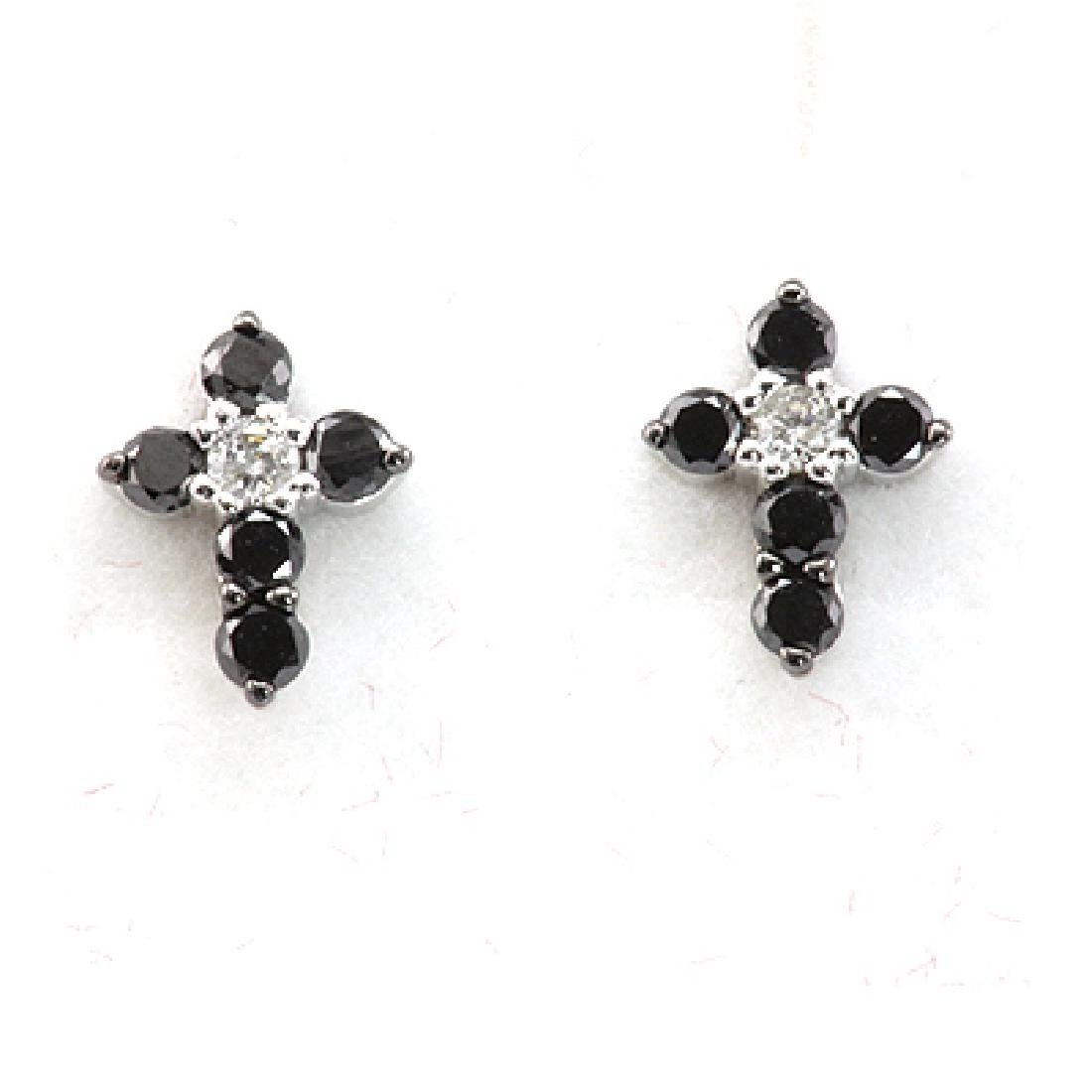 Genuine 0.28 Ctw Black Diamond Cross Earring 14k