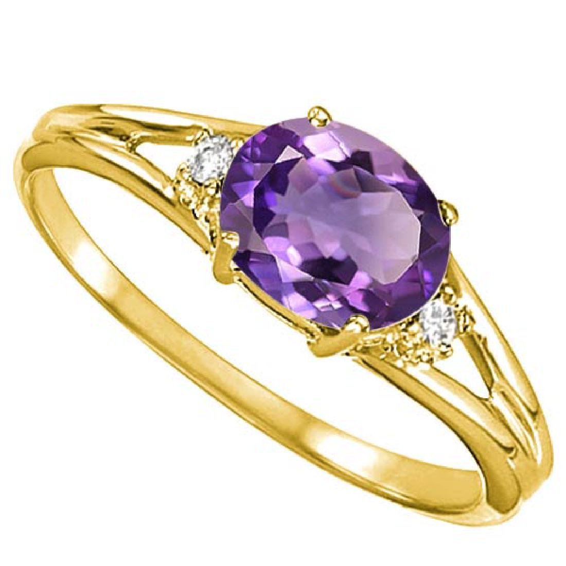 0.44 CARAT AMETHYST & 0.02 CTW DIAMOND 10KT SOLID YELLO