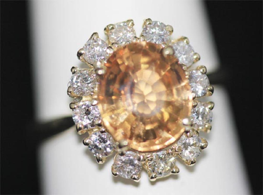 14K YELLOW GOLD OVAL IMPERIAL TOPAZ AND DIAMOND RING