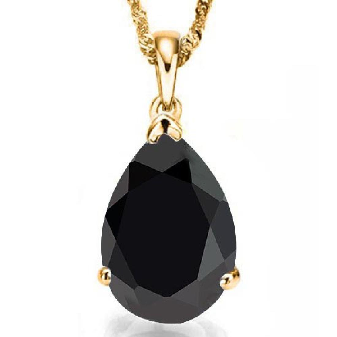 1.0 CTW BLACK SAPPHIRE 10K SOLID YELLOW GOLD PEAR SHAPE