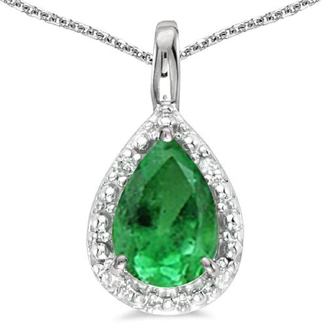 0.4 CARAT EMERALD & CZ 14KT SOLID WHITE GOLD PENDANT