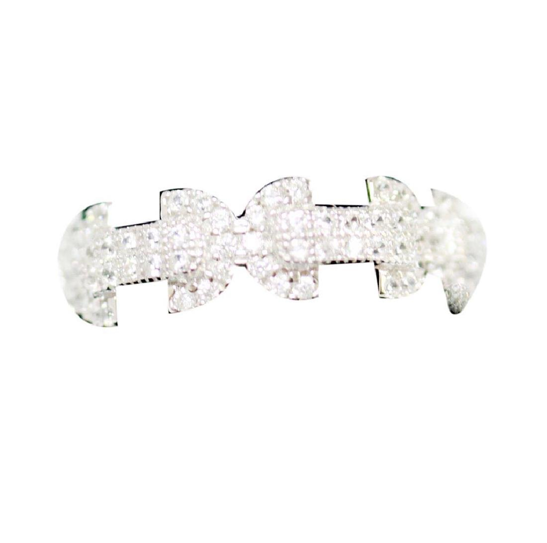 BEAUTIFUL .925 STERLING SILVER BOW-TIE BAND RING W/ CZ