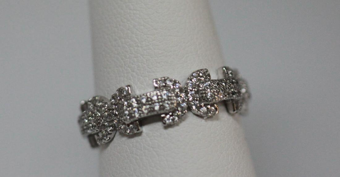 BEAUTIFUL .925 STERLING SILVER BOW-TIE BAND RING W/ CZ - 2