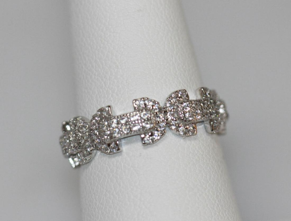 BEAUTIFUL .925 STERLING SILVER BOW-TIE BAND RING W/ CZ - 3
