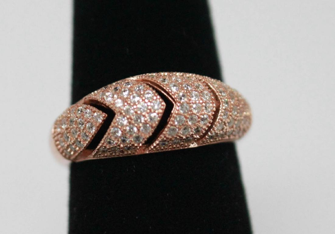 BEAUTIFUL 14K ROSE GOLD PLATED ROUND BAND RING W/ CZ EM - 2