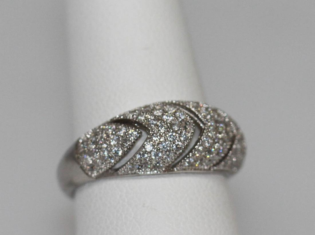 BEAUTIFUL .925 STERLING SILVER ROUND BAND RING W/ CZ EM - 2