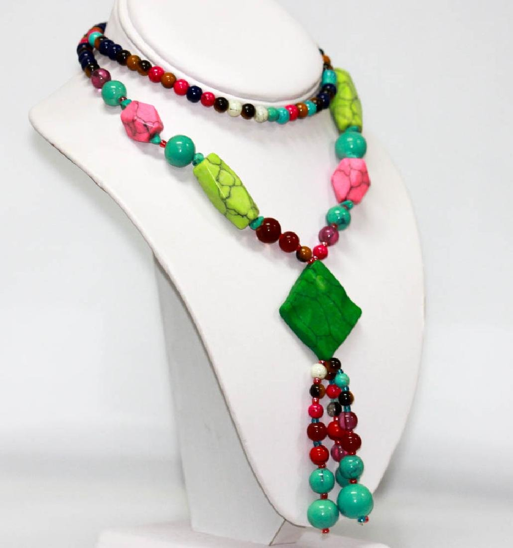 Indian Style Mixed Tourquoise And Mixed Stone Necklace - 2