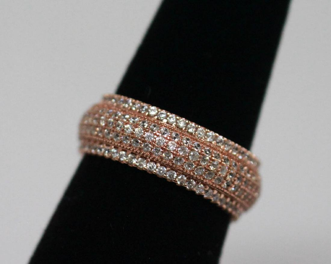 BEAUTIFUL 14K ROSE GOLD PLATED BAND RING W/ CZ EMBEDDED
