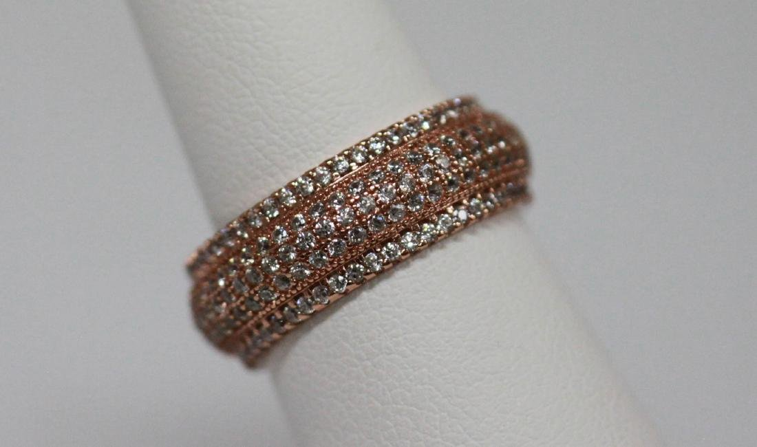 BEAUTIFUL 14K ROSE GOLD PLATED BAND RING W/ CZ EMBEDDED - 2