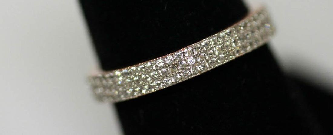 14K GOLD POLISH ON .925 STERLING SILVER BAND RING W/ WH