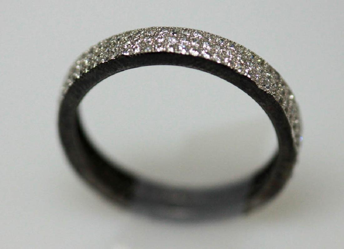 .925 STERLING SILVER BLACK BAND RING W/ WHITE CZ