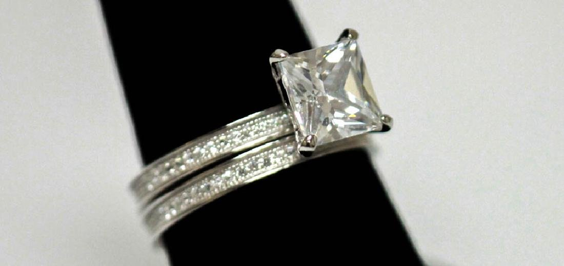 .925 STERLING SILVER CZ ENGAGEMENT RINGS W/ BAND - 2