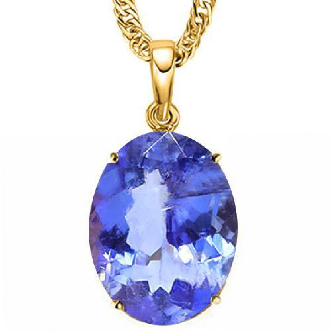 1.3 CTW LAB TANZANITE 10K SOLID YELLOW GOLD OVAL SHAPE