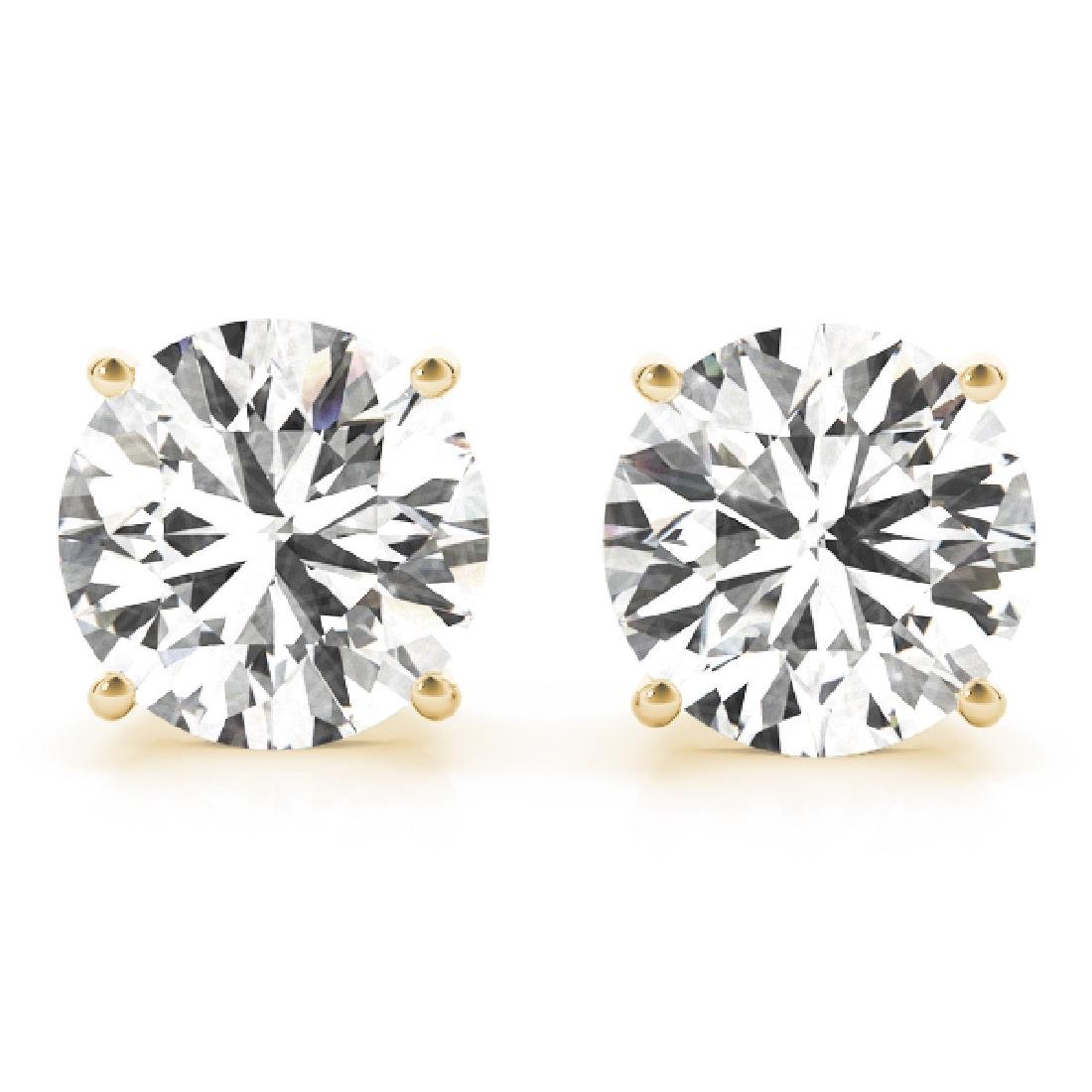 CERTIFIED 0.9 CTW ROUND D/SI1 DIAMOND SOLITAIRE EARRING