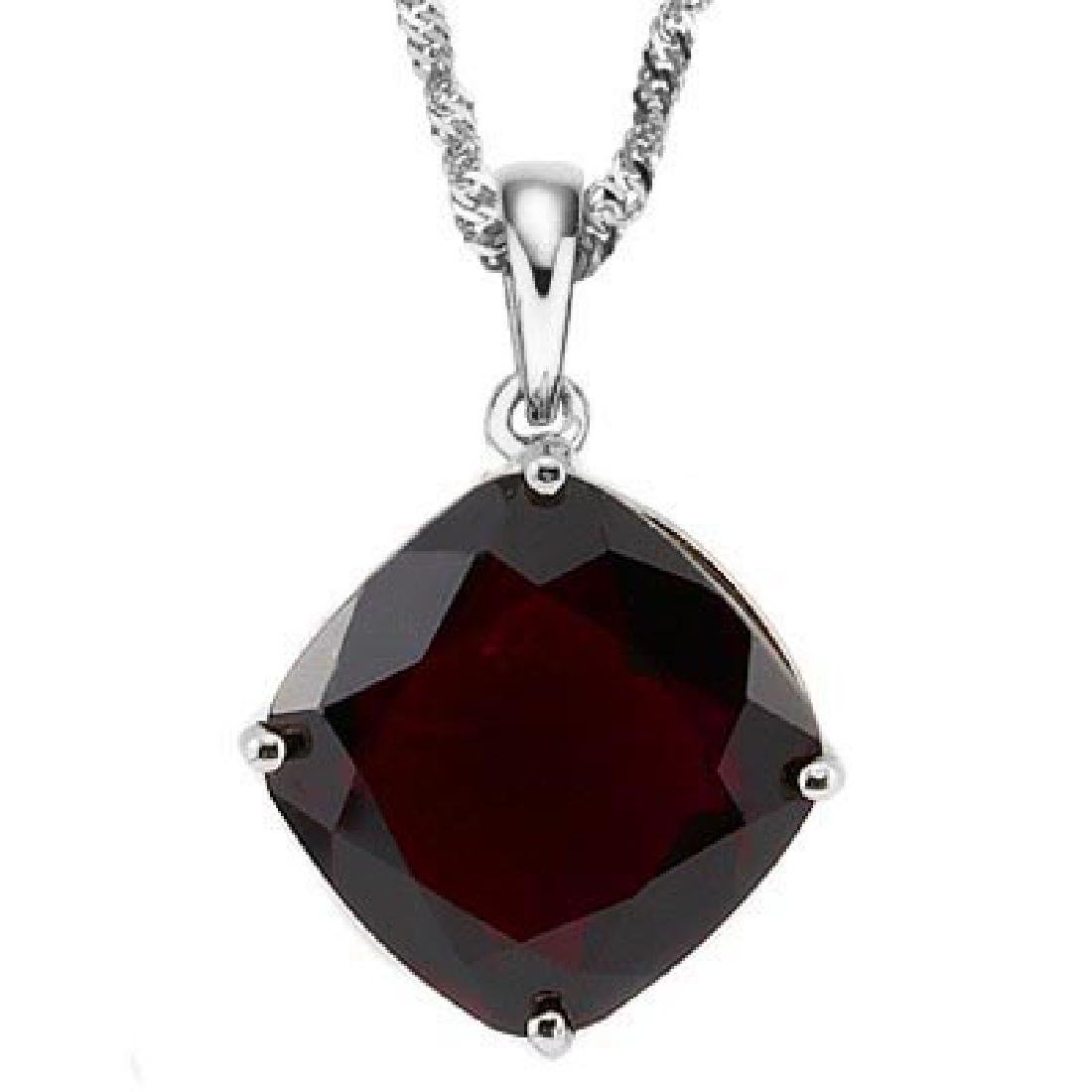 1.05 CTW GARNET 10K SOLID WHITE GOLD CUSHION SHAPE PEND