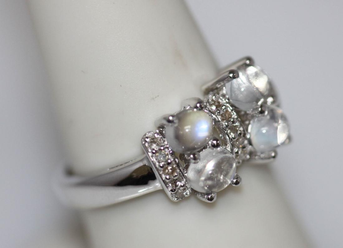 1.84 CTW MOONSTONE & DIAMOND RING .925 STERLING SILVER - 3