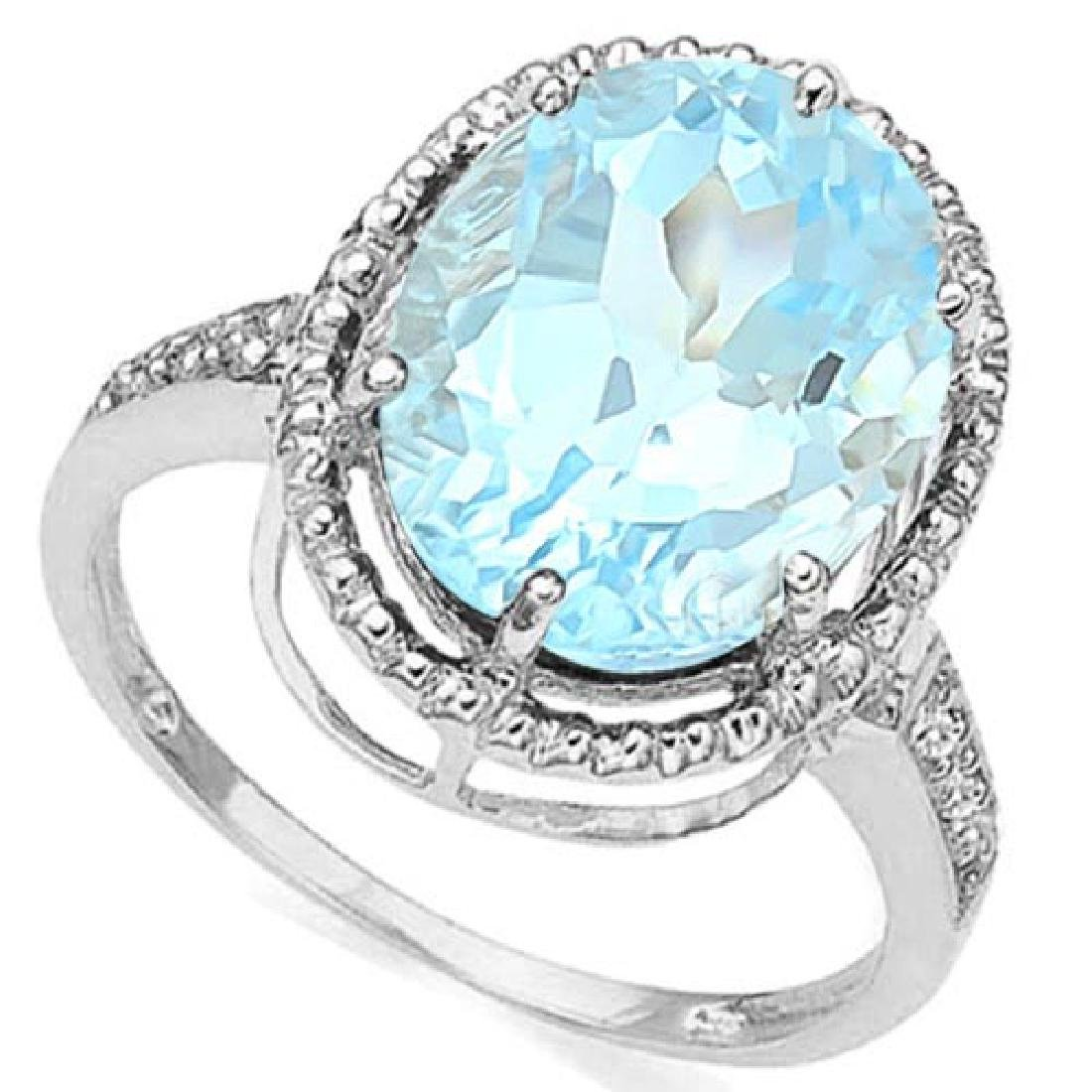 4.16 CTW BLUE TOPAZ & DIAMOND 10KT SOLID GOLD RING