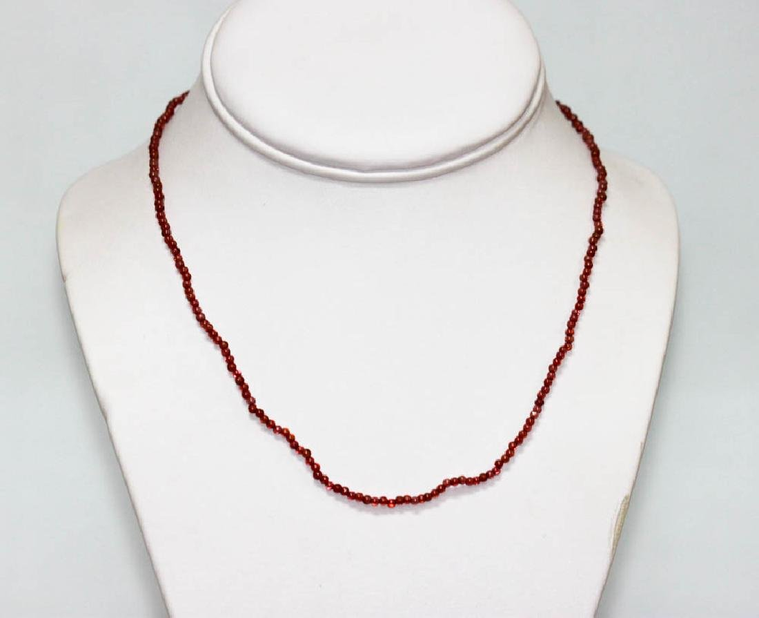 20.74 CTW Red Garnet Round Beads Necklace