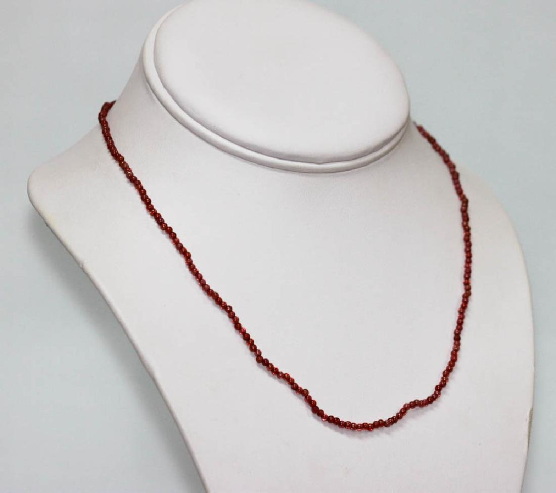 20.74 CTW Red Garnet Round Beads Necklace - 2