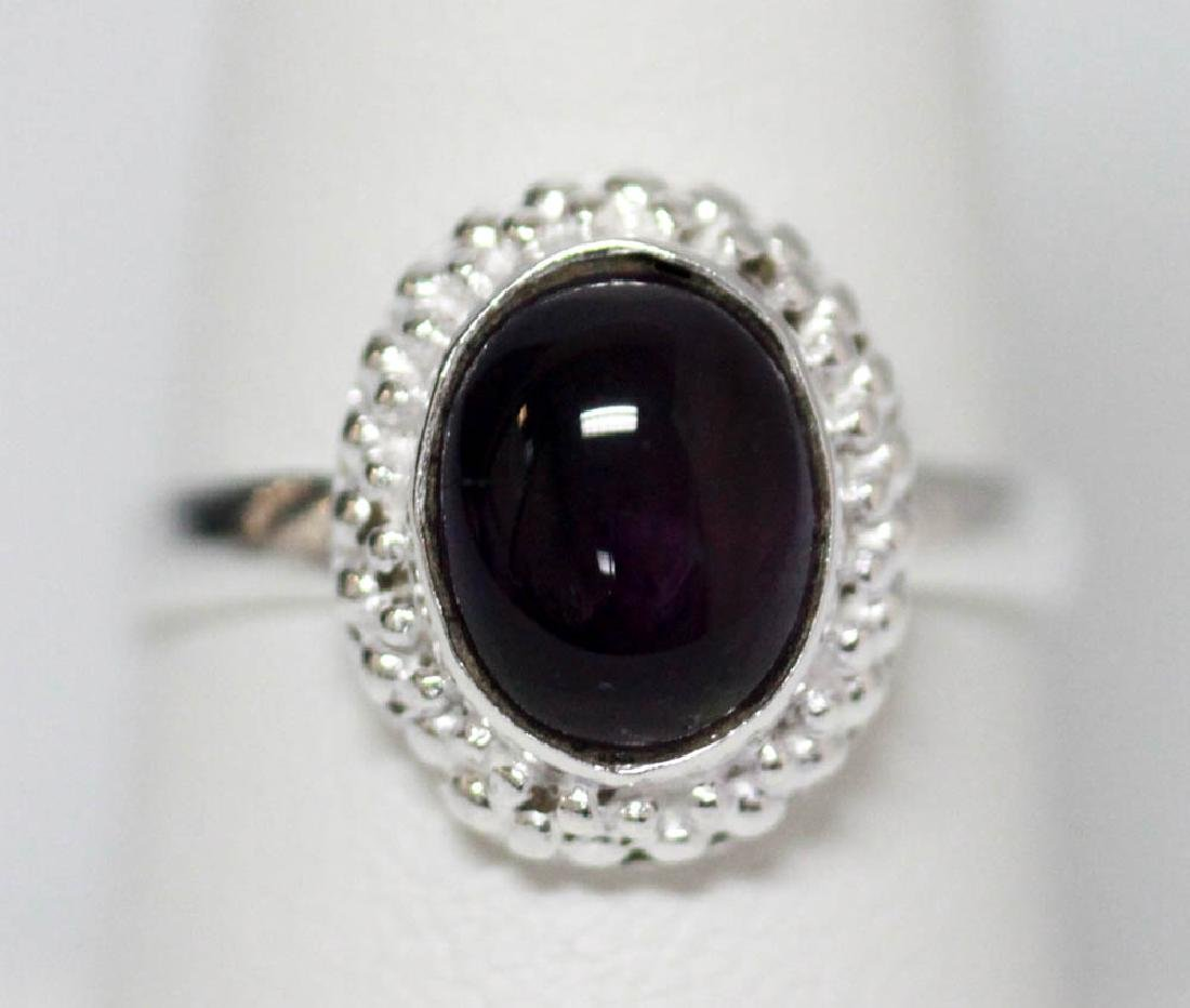 BEAUTIFUL SILVER RING WITH PURPLE AMETHYST STONE CTW 3.