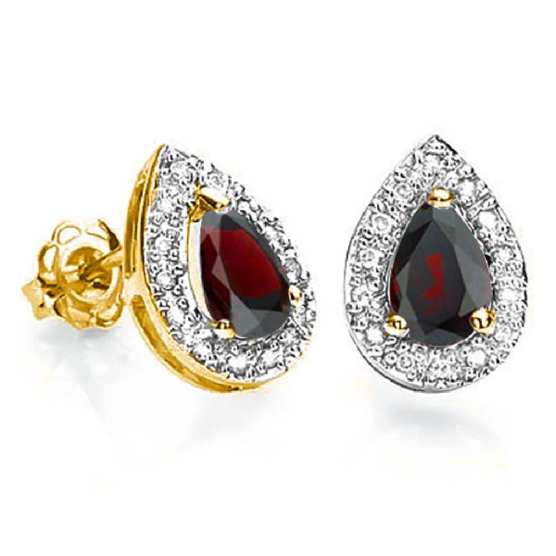 0.69 CT GARNET AND ACCENT DIAMOND 10KT SOLID YELLOW GOL