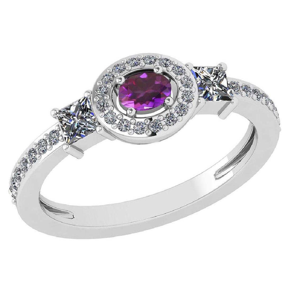 Certified 0.77 Ctw Amethyst And Diamond 14k White Gold