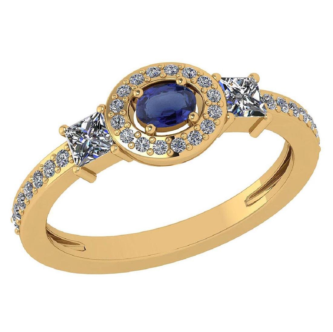 Certified 0.77 Ctw Blue Sapphire And Diamond 14k Yellow