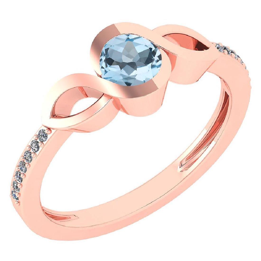 Certified 0.52 Ctw Aquamarine And Diamond 18K Rose Gold