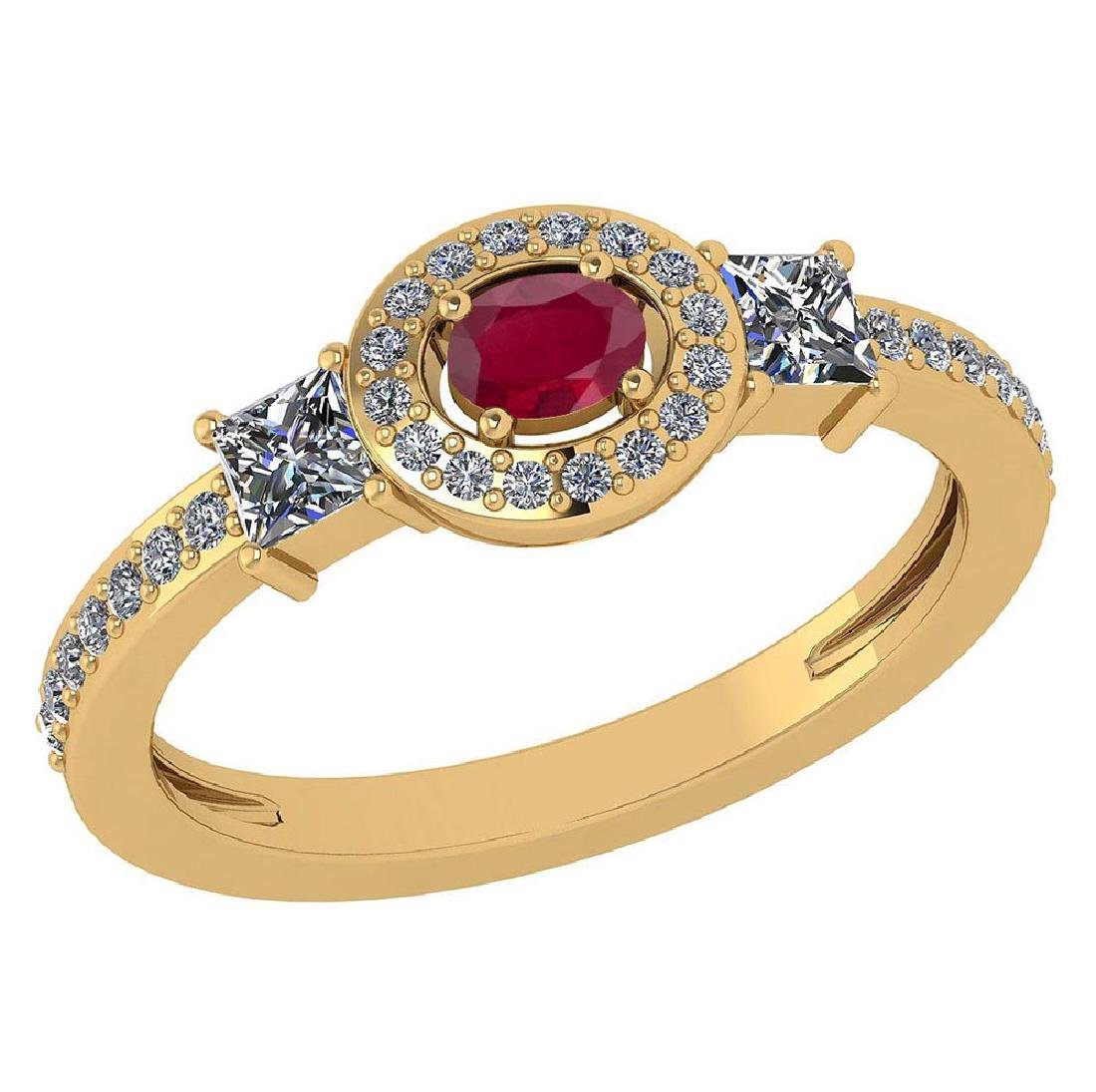 Certified 0.77 Ctw Ruby And Diamond 14k Yellow Gold Hal