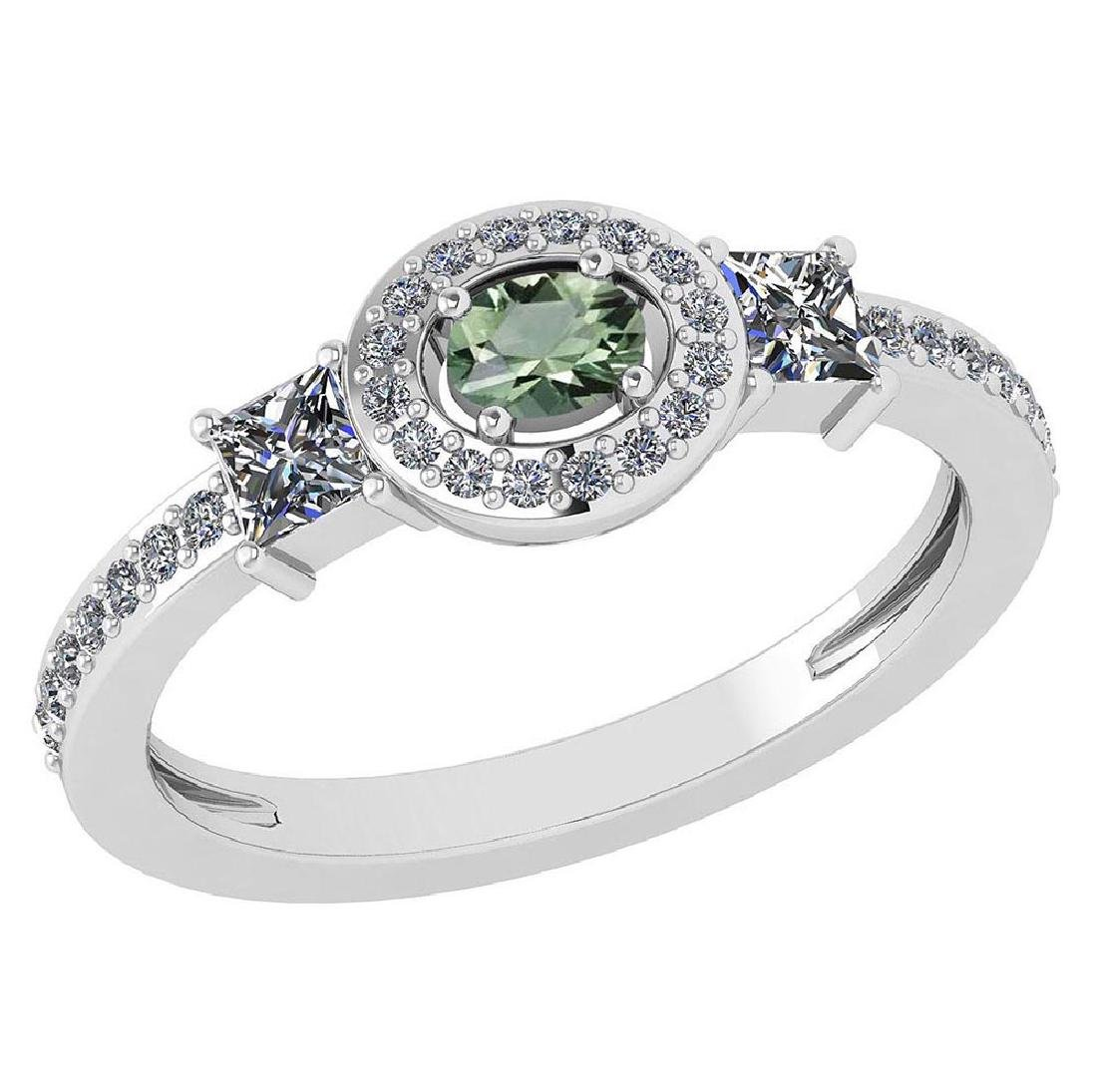 Certified 0.77 Ctw Green Amethyst And Diamond 14k White