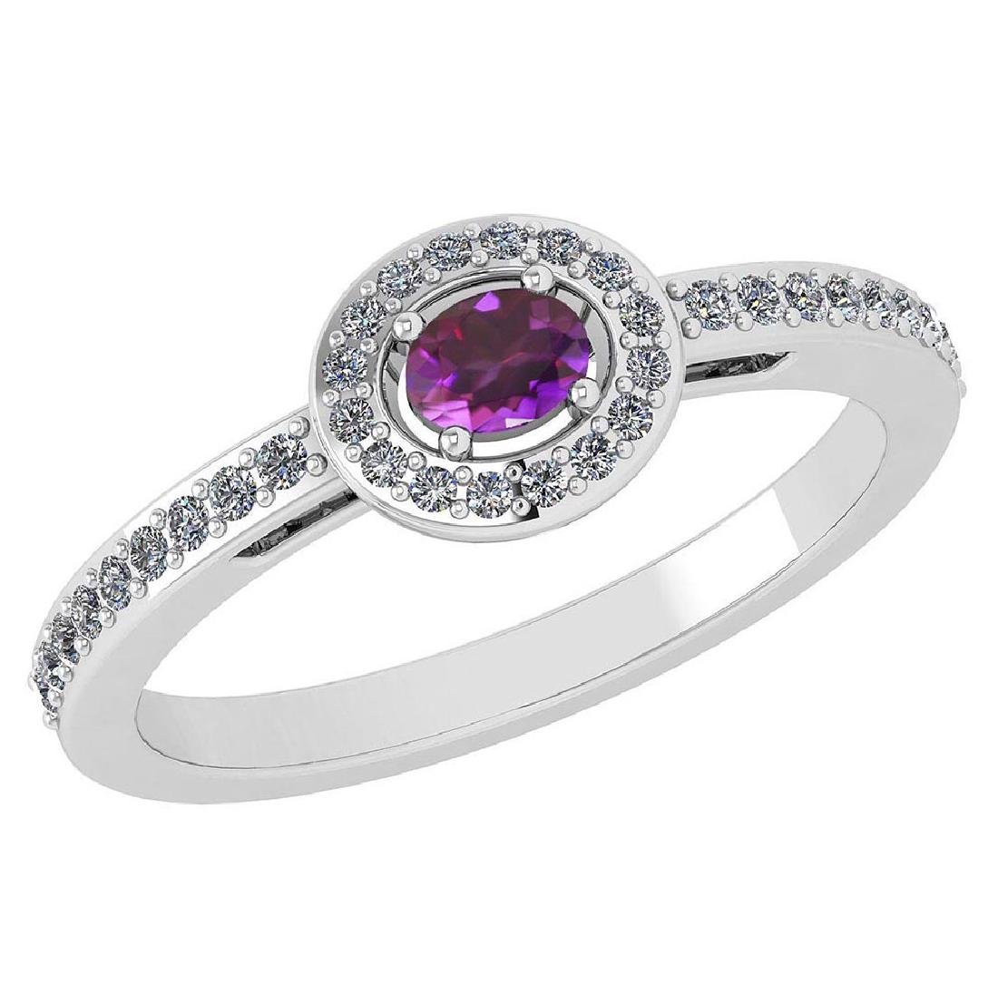 Certified 0.29 Ctw Amethyst And Diamond 14k White Gold