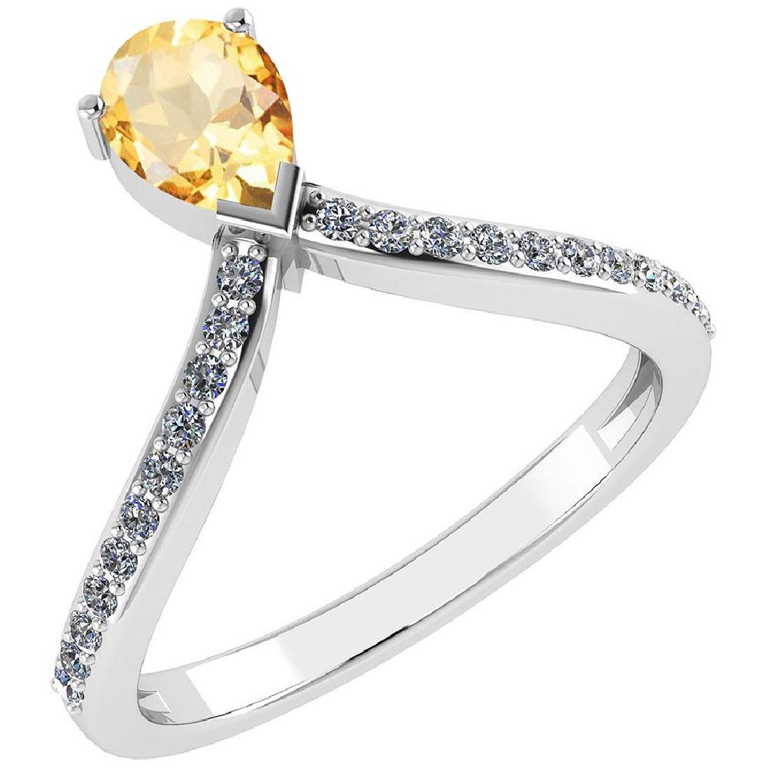 Certified 0.97 Ctw Citrine And Diamond 14k Yellow Gold