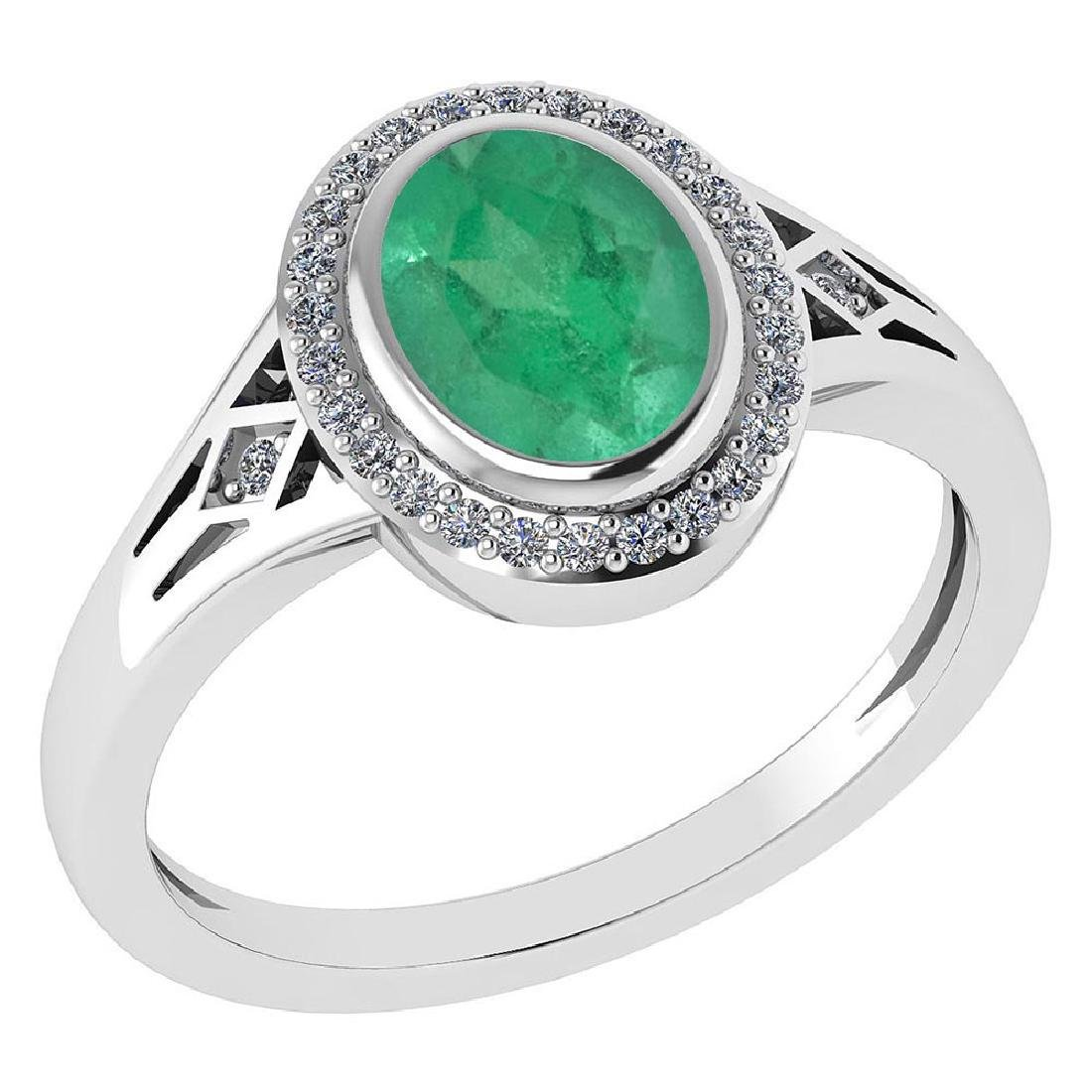 Certified 1.39 Ctw Emerald And Diamond 14k White Gold H